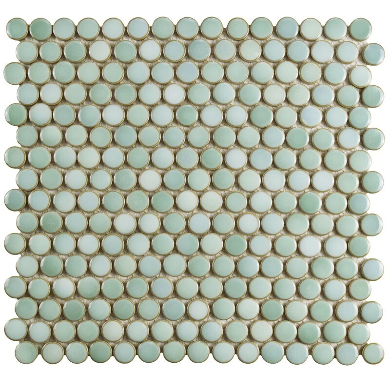 """Penny 12"""" X 12.625"""" Porcelain Mosaic Tile in Mint Green"""
