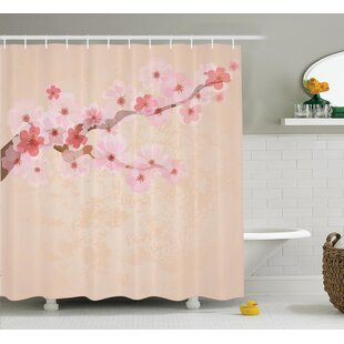 Oosterhout Japanese Cherry Blossoms on Branch Vintage Textured Flourishing Romantic Art Picture Single Shower Curtain