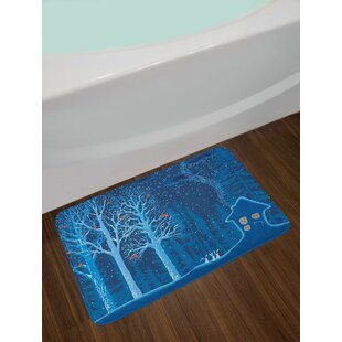 Forest Winter Landscape Bath Rug