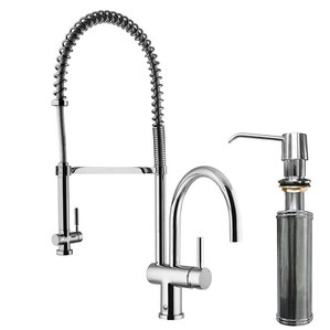 VIGO Dresden Pull-Down Spray Kitchen Faucet with Soap Dispenser