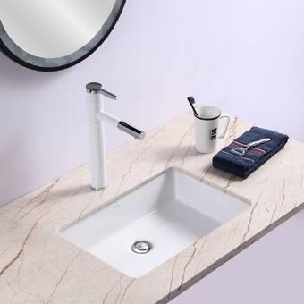 Renist White Ceramic Rectangular Undermount Bathroom Sink With Overflow Wayfair