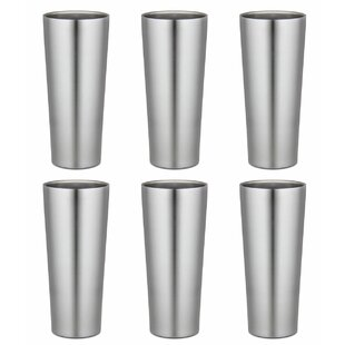 16 oz. Stainless Steel Pint Glasses (Set of 6)