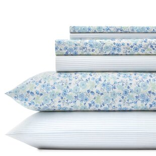 Jaynie Ticking 200 Thread Count Floral 100% Cotton Percale Sheet Set