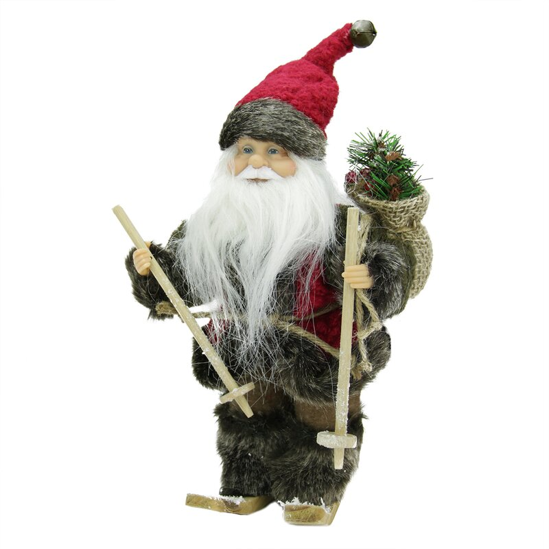 Northlight Country Rustic Skiing Santa Claus Christmas Figure with