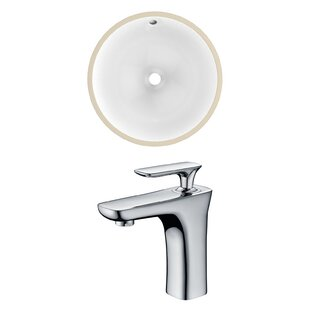 Online Reviews Ceramic Circular Undermount Bathroom Sink with Faucet and Overflow ByAmerican Imaginations
