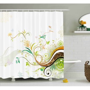 Trista Abstract Modern Flowers Ivy Leaves Buds Blossoms Wavy Lines Print Single Shower Curtain