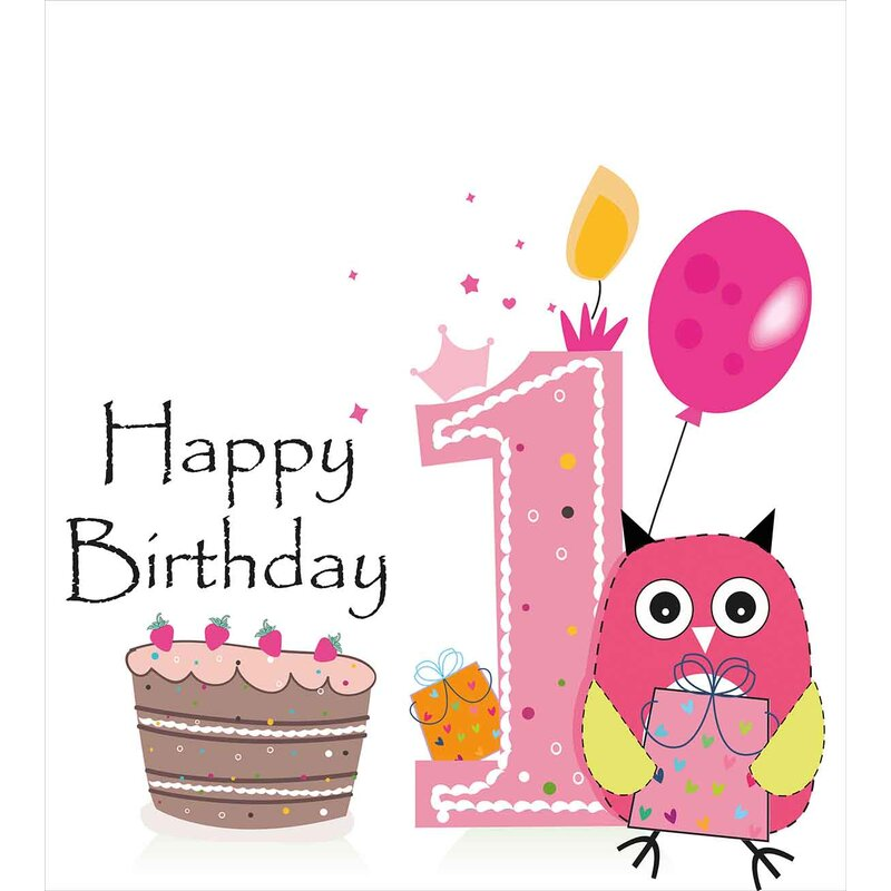 1st Birthday Decorations First Cake Candle Sketchy Cartoon Owl Image Duvet Cover Set