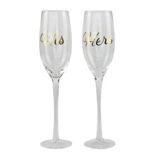 Mckernan His And Hers 2 Piece Glass 9 Oz. Champagne Flute Set