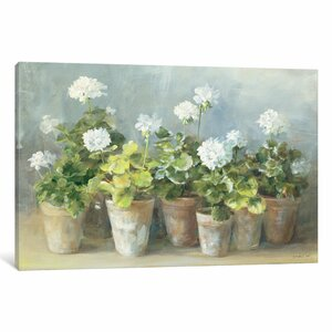 Blooming Potted Flowers' Painting Print on Wrapped Canvas