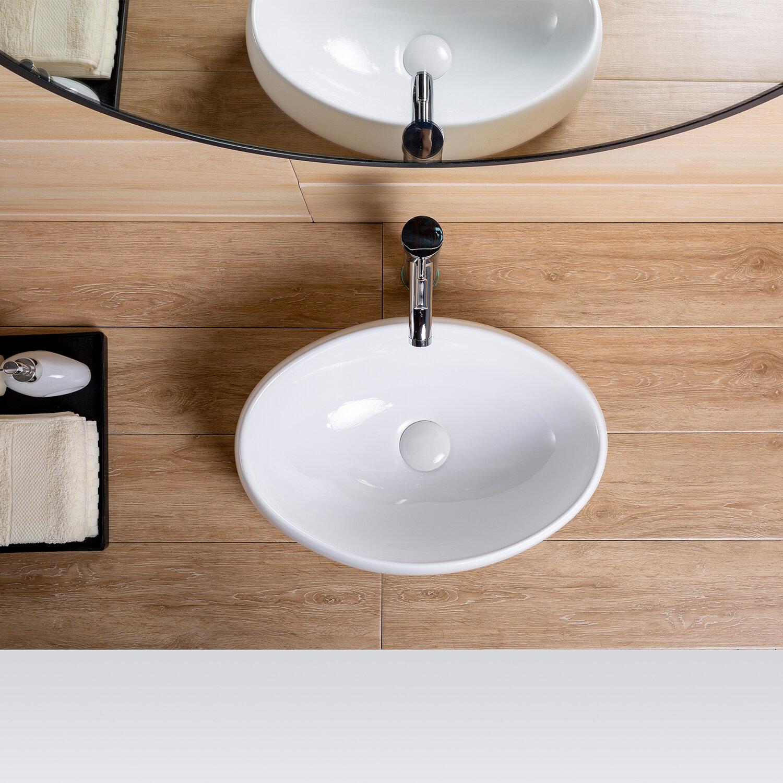 Topcraft White Ceramic Oval Vessel Bathroom Sink Wayfair