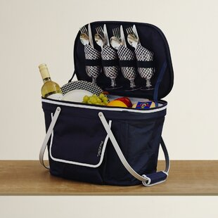 Insulated Picnic Basket Cooler with Four Place Settings