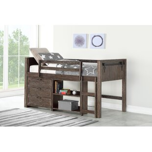 Ivanna Twin Loft Bed with Drawers and Bookcase