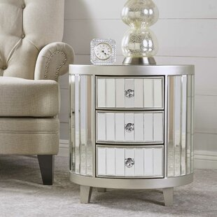House of Hampton Leone Mirrored 3 Drawer Accent Chest