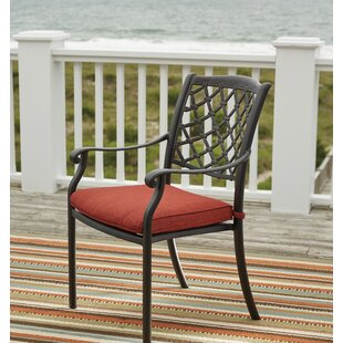 Burgett Stacking Patio Dining Chair with Cushion (Set of 4)