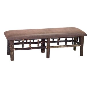 Hickory Leather Fabric Bench by Fireside Lodge Sale