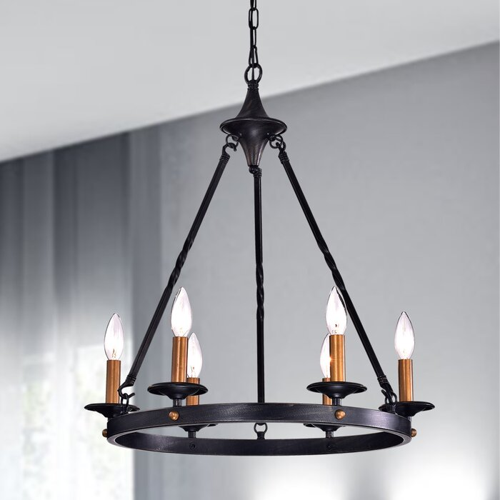 Brian 6 Light Candle Style Wagon Wheel Chandelier