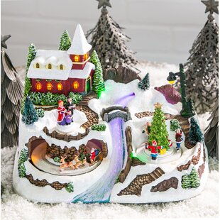 christmas village with river led scene - Ceramic Christmas Village