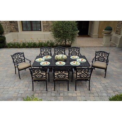 Windley 9 Piece Dining Set With Cushions by Fleur De Lis Living 2020 Sale