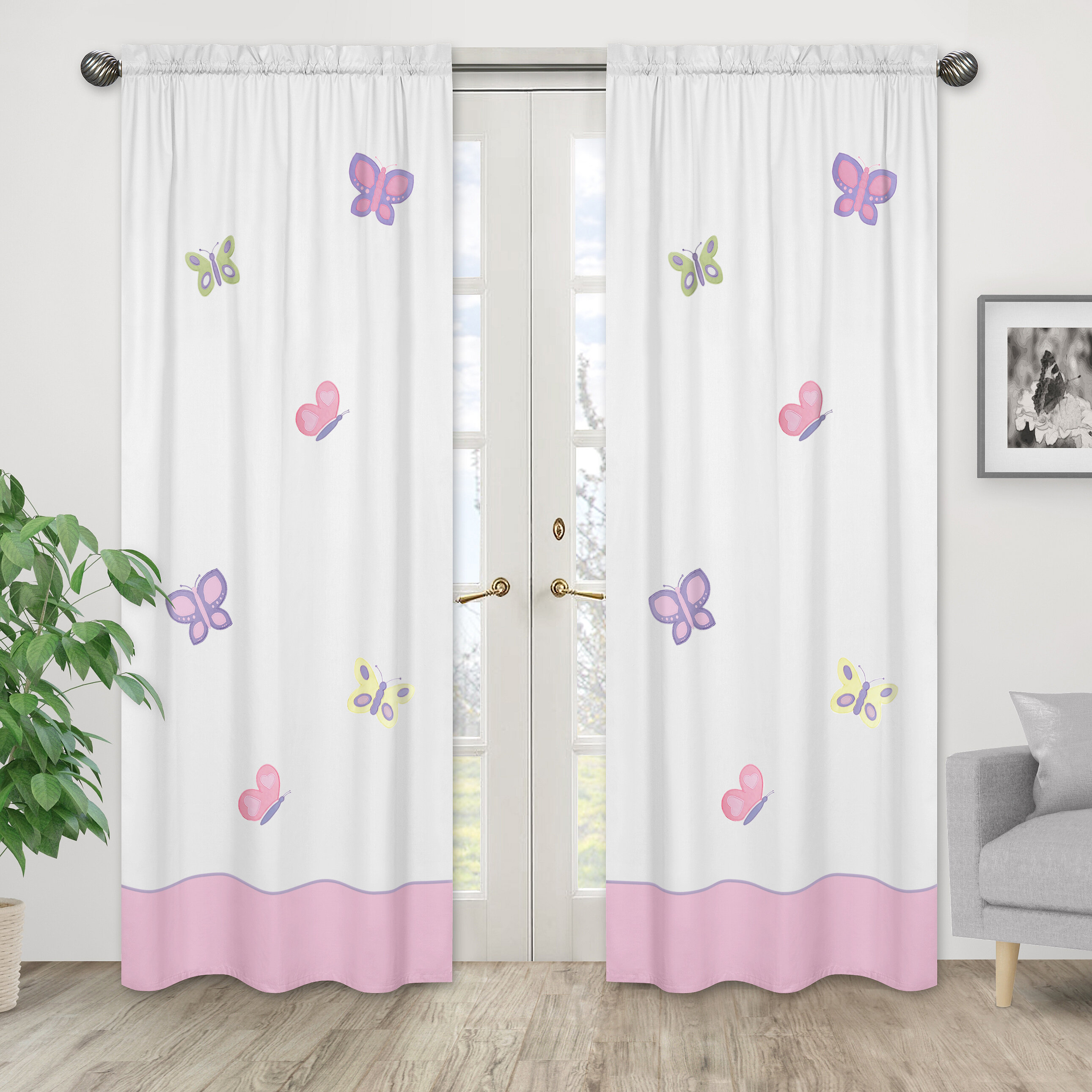 Kids Zone Home Linen Curtain 2 Panel Set with Grommet Multi-Color Dinosaur Pink Purple Aqua White New
