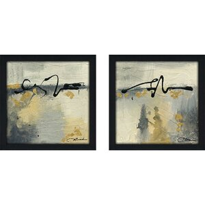 'Lyrical II' 2 Piece Framed Acrylic Painting Print Set Under Glass