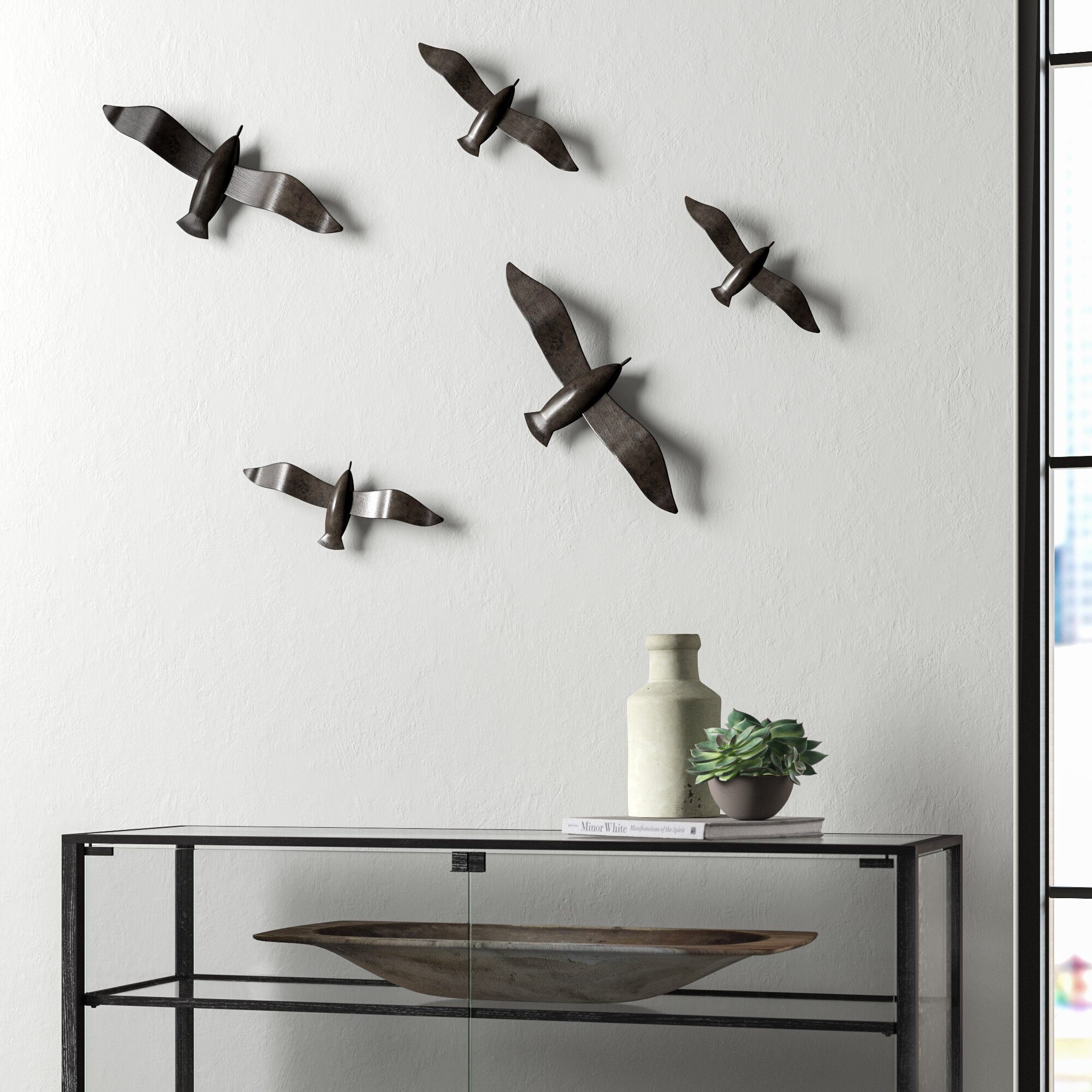 5 Piece Brushed Metal Flying Birds Wall
