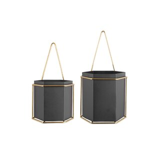 Hexagon 2 Piece Metal Hanging Basket Set By Present Time
