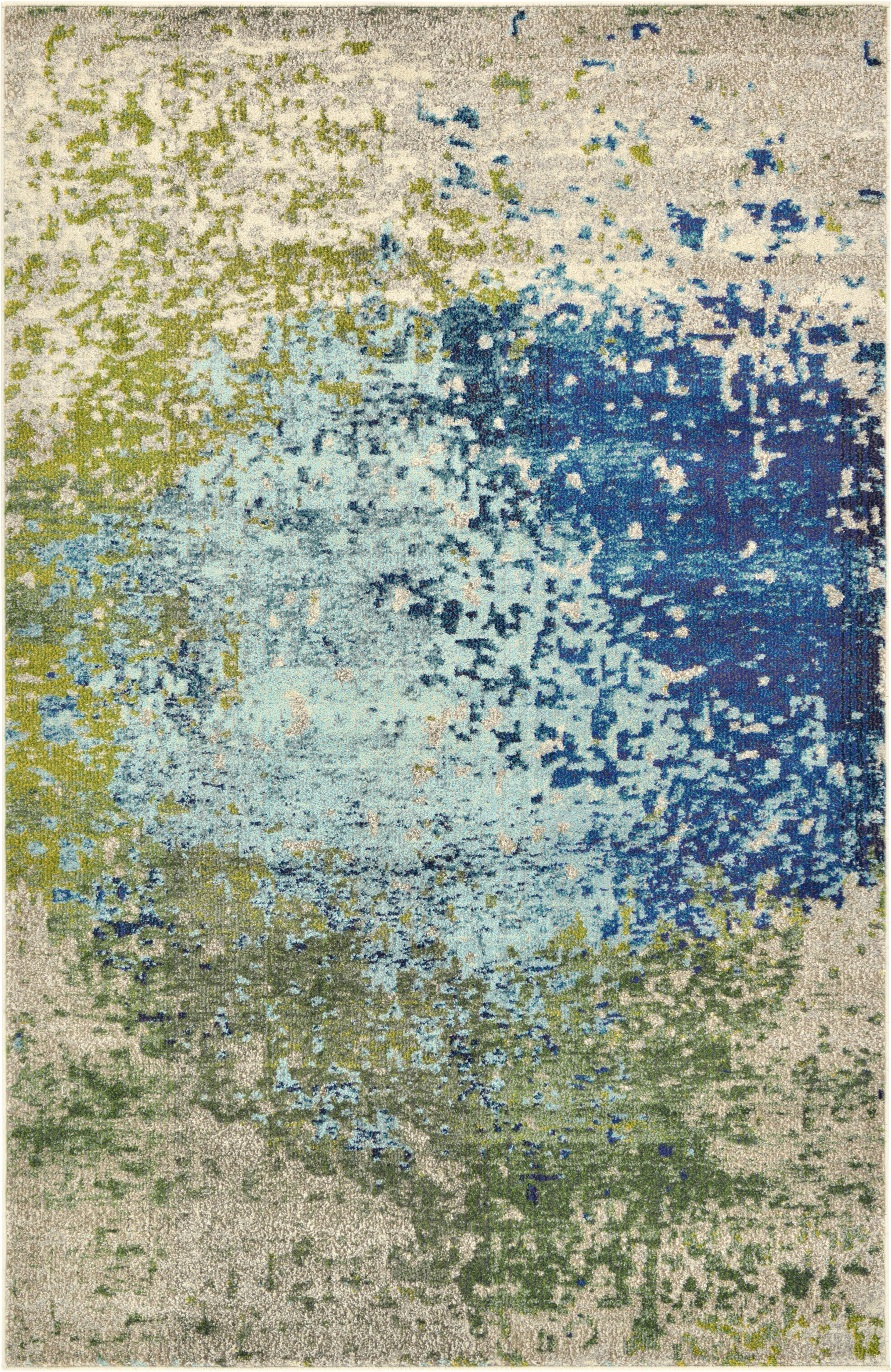World Menagerie Hayes Power Loom Synthetic Blue Area Rug Reviews