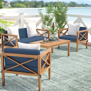 Delray Outdoor 4 Piece Sofa Seating Group with Cushions