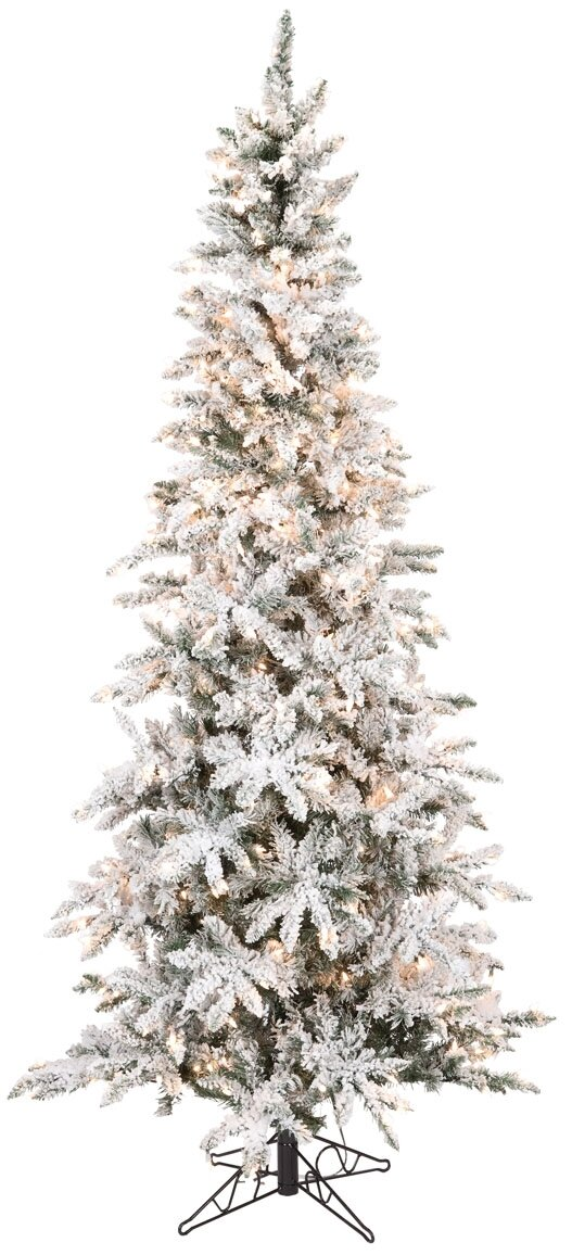 reputable site 1134b df01f Pencil 7.5' Flocked Green Pine Artificial Christmas Tree with 400  Clear/White Lights
