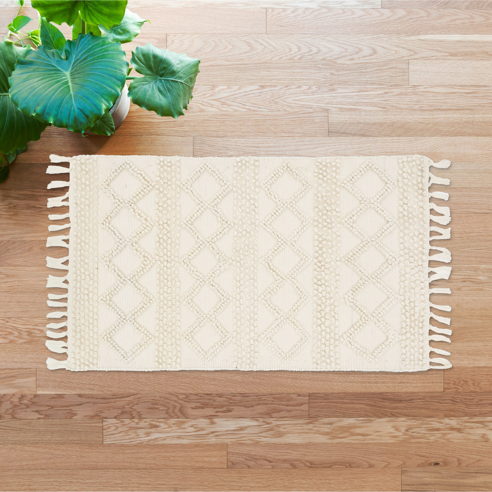 Millwood Pines Spitzer Geometric Hand Knotted Ivory Area Rug Wayfair