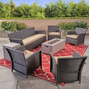 Ayala Outdoor 7 Piece Rattan Sofa Seating Group with Cushions