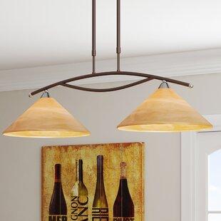World Menagerie Beecroft 2-Light Glass Shade Kitchen Island Pendant