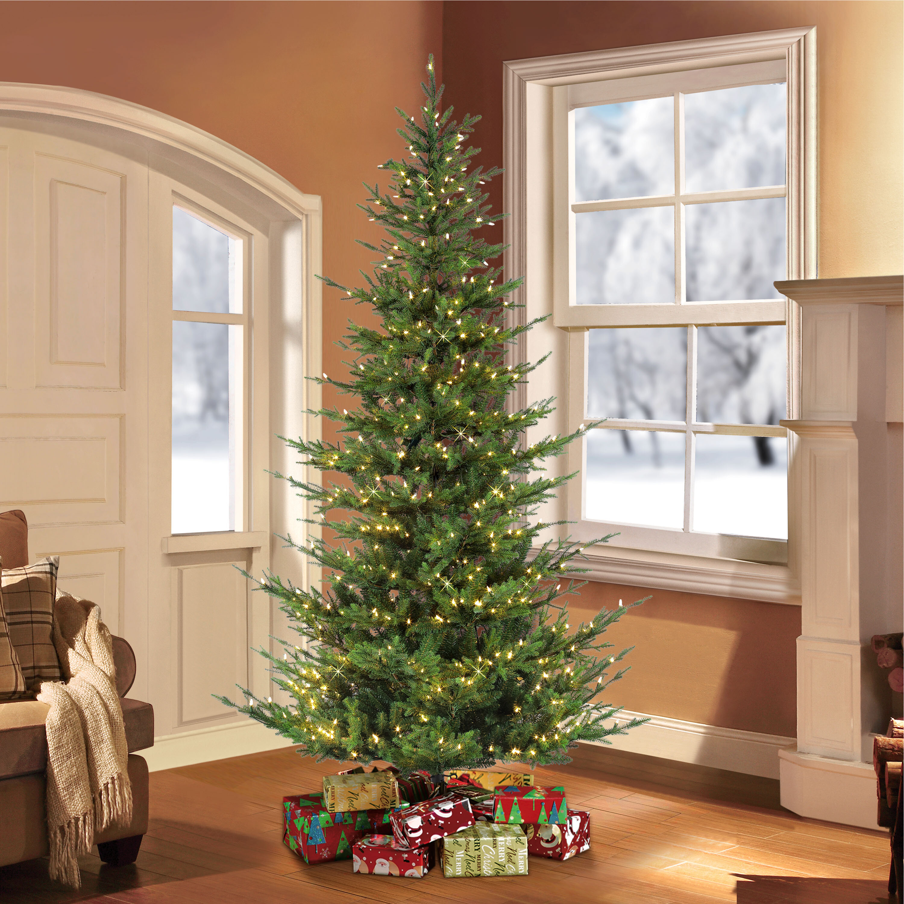 The Holiday Aisle Natural 7 5 Green Fir Artificial Christmas Tree With 700 Clear And White Lights Reviews Wayfair