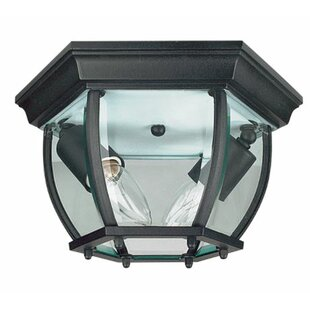 Charlton Home Higbee Curved 2-Light Outdoor Flush Mount