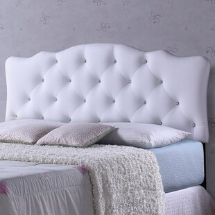 Whidden White Scalloped Queen Upholstered Panel Headboard