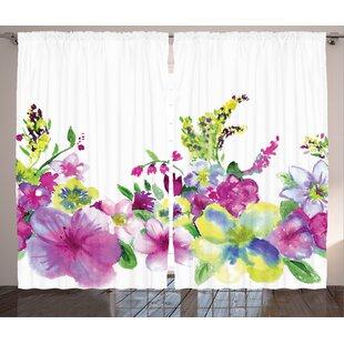 Floret Room Darkening Rod Pocket Curtain Panels (Set of 2) by East Urban Home