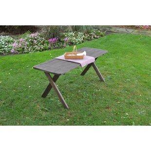 Union Rustic Pastrana Cross Leg Wooden Picnic Table with Umbrella Hole