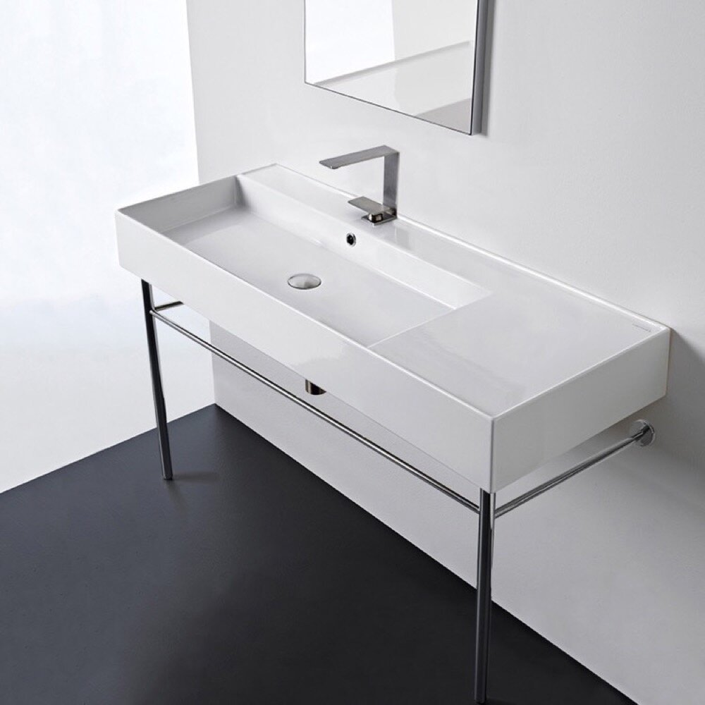 Scarabeo By Nameeks White Ceramic Console Bathroom Sink With Overflow Wayfair
