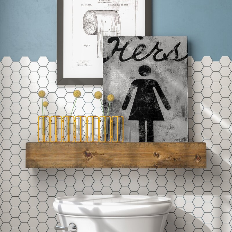 'Hers Distressed Bathroom Sign' Graphic Art on Canvas