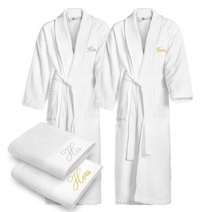 His and Hers Cotton Waffle Shawl Bathrobe (Set of 2)