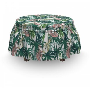 Palm Tree Dreamy Jungle Foliage 2 Piece Box Cushion Ottoman Slipcover Set By East Urban Home