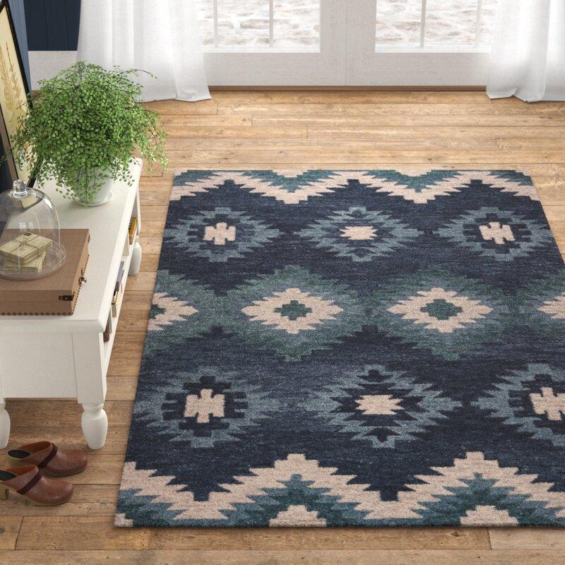 Birch Lane Leone Southwestern Handmade Tufted Wool Blue Area Rug Reviews Wayfair