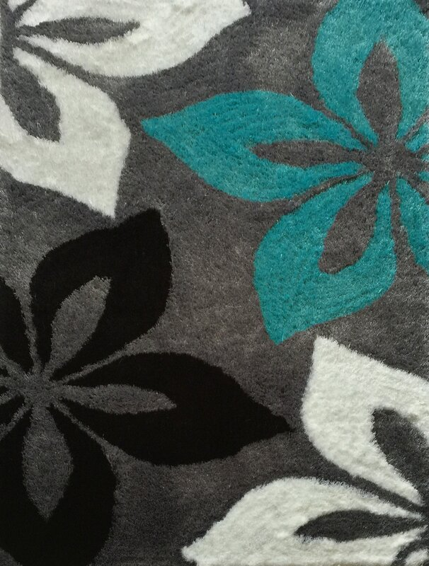 Lola Hand Tufted Gray/Turquoise Area Rug