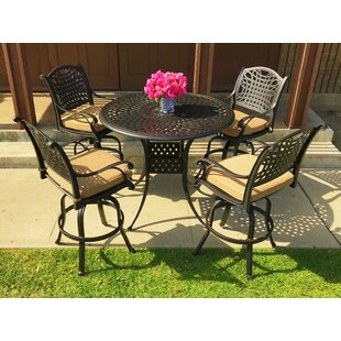 Fleur De Lis Living Campion 5 Piece Sunbrella Bar Height Dining Set with Cushions