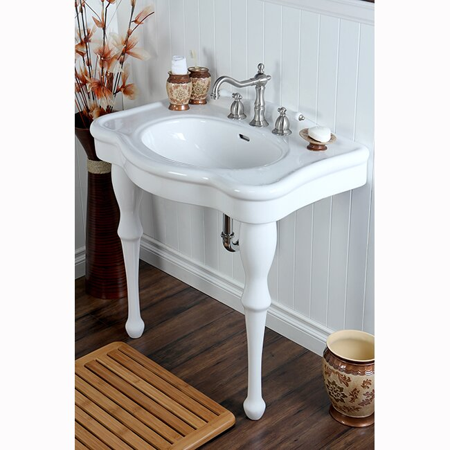 Imperial Vitreous China Circular Console Bathroom Sink with Overflow
