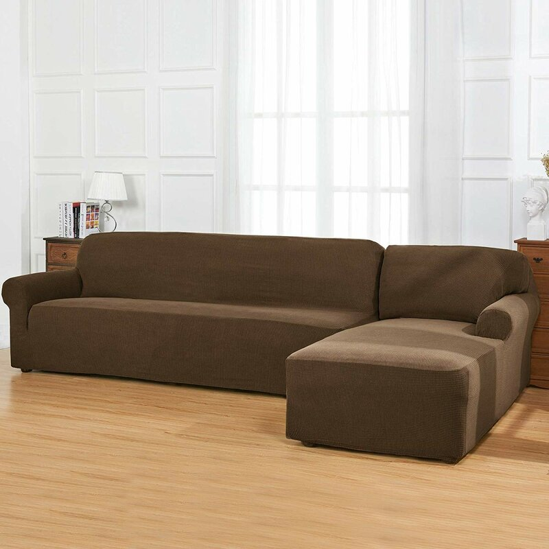 Winston Porter L-Shaped Jacquard Stretch Box Cushion Sofa ...