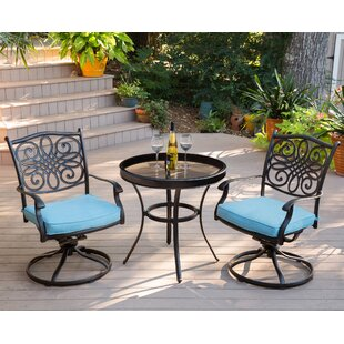 Darby Home Co Barrowman Swivel 3 Piece Bistro Set with Cushions