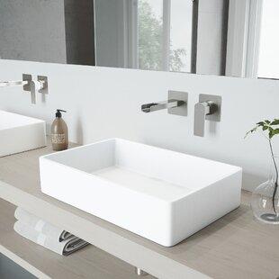 Online Reviews Magnolia Stone Rectangular Vessel Bathroom Sink with Faucet By VIGO