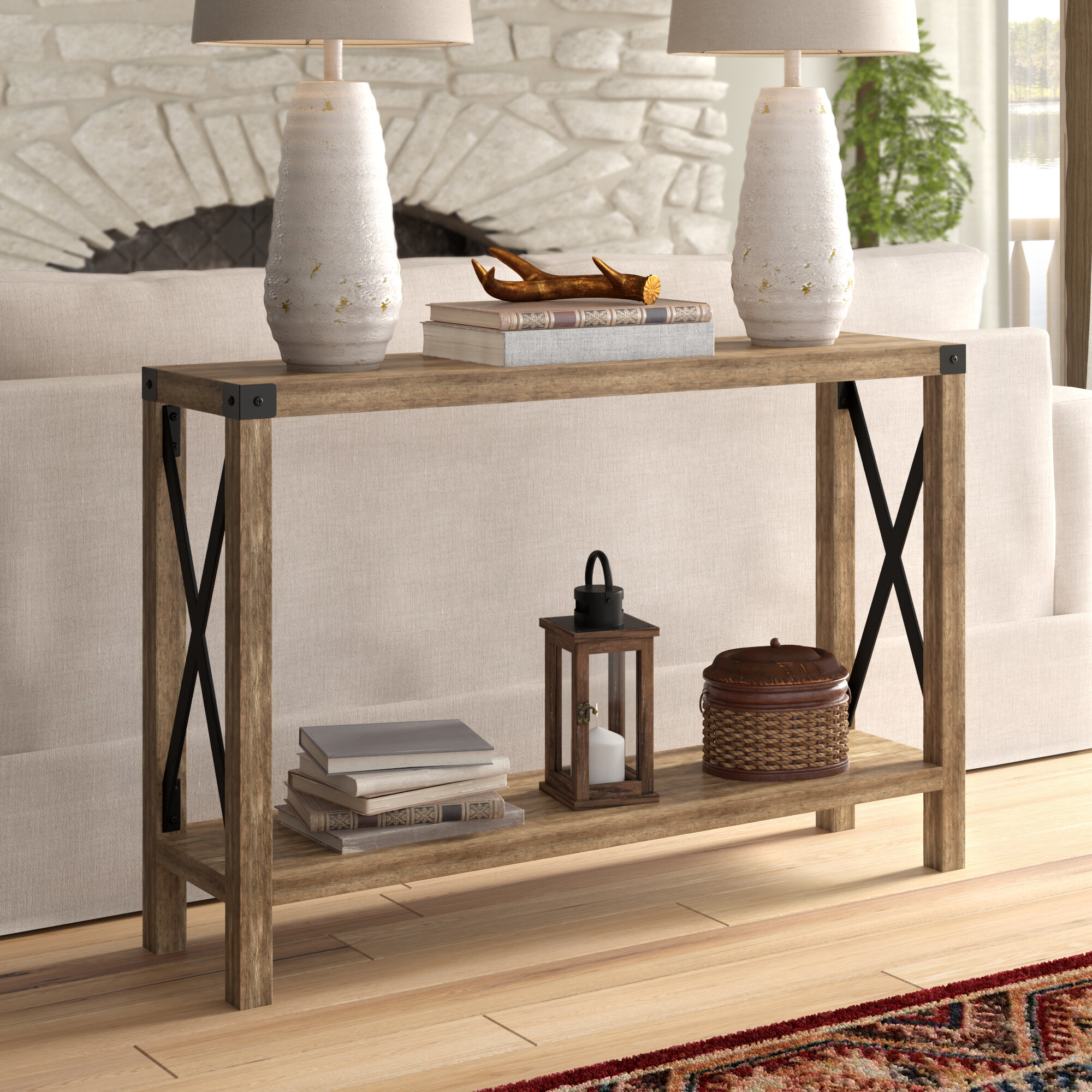 RAAMZO Vintage Brown Finish Metal Frame 2-Tier Entryway Console Sofa Table with X-Design Sides