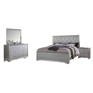 silver bedroom set. Rohan Queen Panel 4 Piece Bedroom Set Silver Sets You ll Love  Wayfair